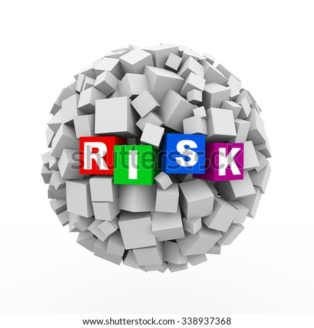 3d rendering of abstract cubes boxes sphere ball of word text risk - stock photo