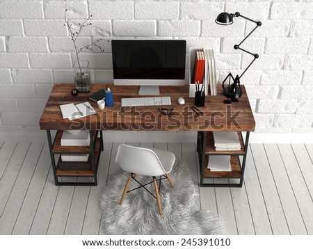 3D Rendering of Aerial View of Architectural Study Area with Computer, Lamp, Vase and Writing Supplies on Top of Wooden Table, Paired with Single Chair on Soft Cloth. Placed Beside White Wall - stock photo