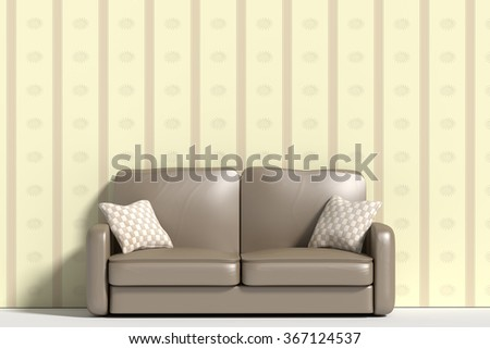3d rendering of al sofa with pillows against of wall decorated with wall-paper