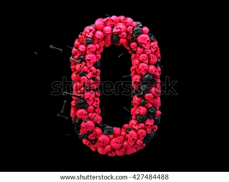 3d rendering of alphabet. Skulls and bones 3d font, colored pink and black. Single uppercase letter O isolated on black background. Girlish style vampire design. Halloween glamour night party poster.
