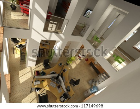 3D rendering of an aerial view of a luxurious office - stock photo