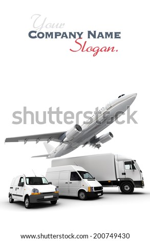 3D rendering of an airplane, a truck, a van and a lorry against a neutral background  - stock photo