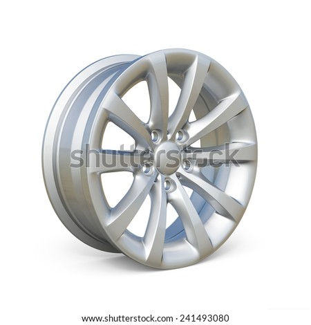 3d rendering of an alloy rim isolated on white background - stock photo
