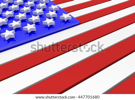 3D rendering of an American flag in relief with stars floating