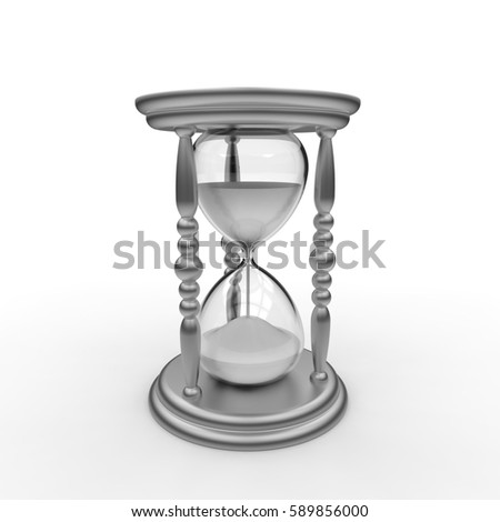 3D rendering of an antique egg timer hourglass with white sand and silver frame on a white background