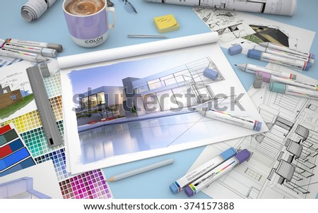 3D rendering of an architects desktop with a house render, markers and  color swatches - stock photo