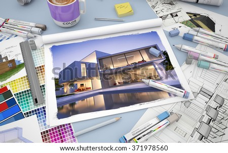3D rendering of an architects desktop with the image of a luxurious villa with pool markers and  color swatches - stock photo