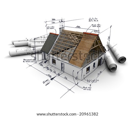 3D Rendering Of An Architecture Model With Rolled Up Blueprints And Handwritten Notes Measurements