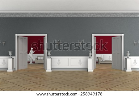 3D rendering of an aristocratic interior of an old building - stock photo