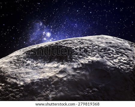 3D rendering of an asteroid - stock photo
