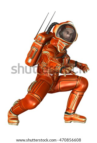 3D rendering of an astronaut isolated on white background