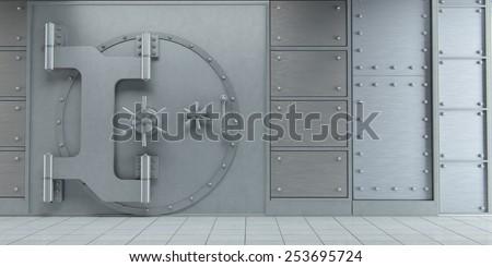 3d rendering of an closed huge bank vault doors front view - stock photo