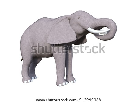 3D rendering of an elephant isolated on white background