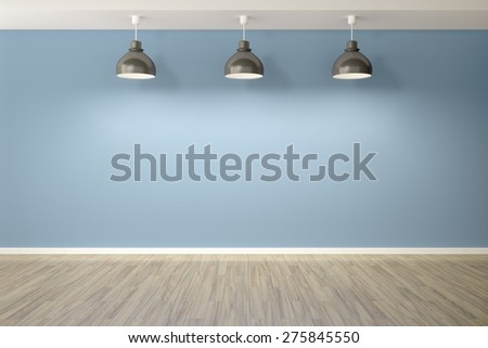 3d rendering of an empty blue room with three lamps - stock photo