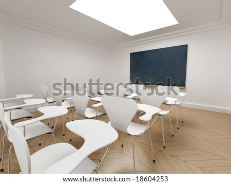 3D rendering of an empty classroom