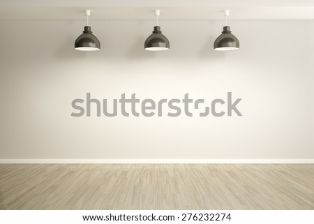3d rendering of an empty room with three lamps - stock photo