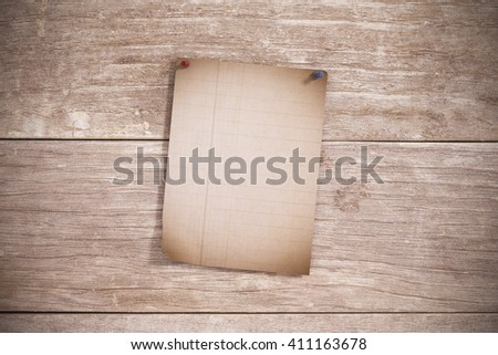 3d rendering of an empty sheet pinned on wooden plank - stock photo
