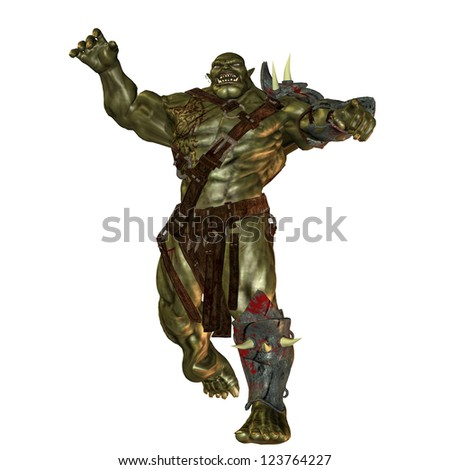 3D rendering of an evil orc