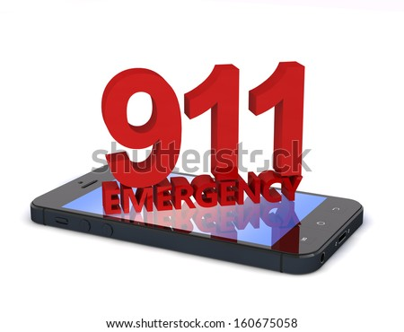 3d rendering of an mobile phone  with 911 emergency number - stock photo