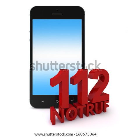 3d rendering of an mobile phone  with 112 Notruf, the emergency number in germany - stock photo