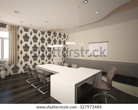 3d rendering of an office interior design