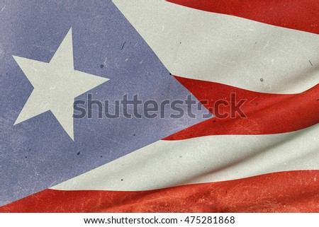 3d rendering of an old and dirty Commonwealth of Puerto Rico flag waving
