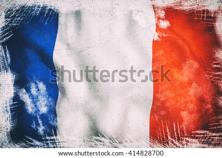 3d rendering of an old and dirty france flag - stock photo