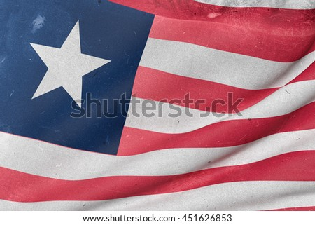 3d rendering of an old and dirty Liberia flag waving