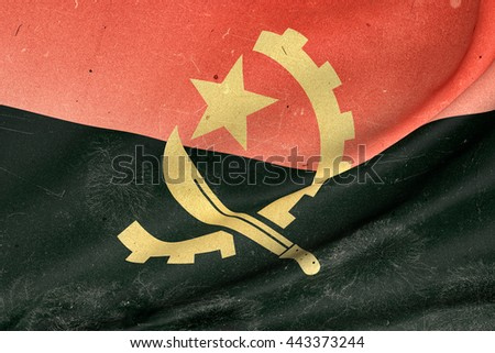 3d rendering of an old and dirty  Republic of Angola flag waving