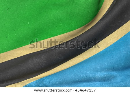 3d rendering of an old and dirty Tanzania flag waving