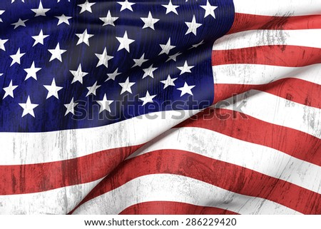 3d rendering of an old and dirty Usa flag waving - stock photo