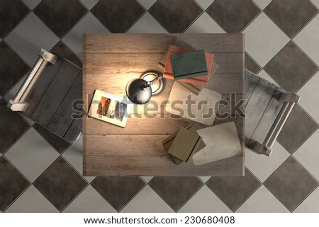 3d rendering of an old book and a tablet on a rustic room - stock photo