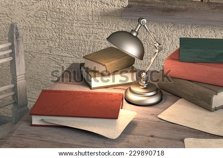 3d rendering of an old book on a table in a dirty room - stock photo