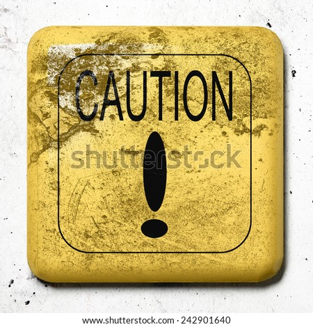 3d rendering of an old caution sign - stock photo