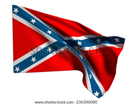 3d rendering of an old confederate flag on a white background - stock photo