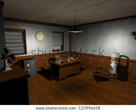 3D rendering of an old detective agency in film noir style