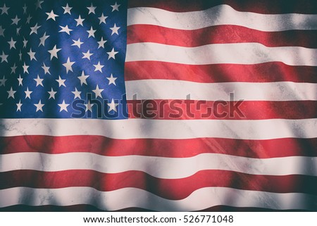 3d rendering of an old United States of America flag waving