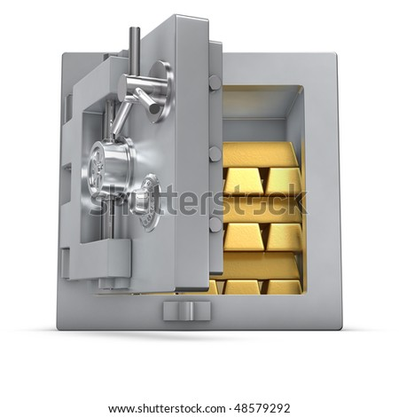 3d rendering of an open bank safe filled with gold bars - stock photo