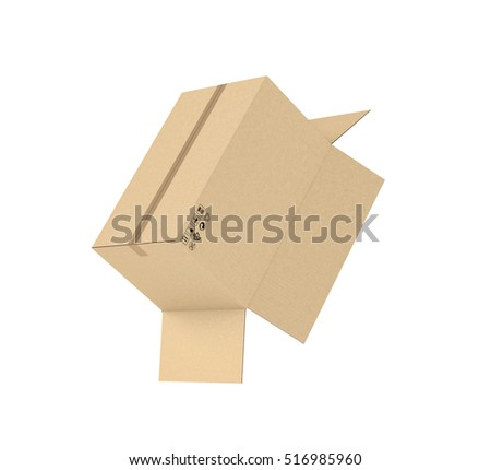 3d rendering open light beige cardboard stock illustration 3d rendering of an open light beige cardboard mail box held together with duct tape isolated mozeypictures Gallery