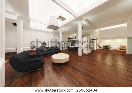 3D Rendering of an open office - stock photo