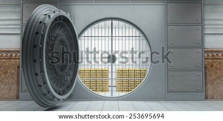 3d rendering of an opened huge bank vault full of gold bars front view - stock photo
