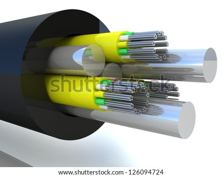 3d rendering of an optic fiber cable - stock photo