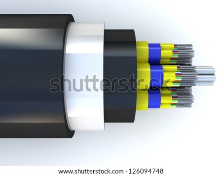 3d rendering of an optic fiber cable on top view - stock photo