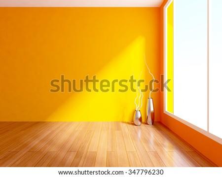 3D rendering of an orange empty interior - stock photo