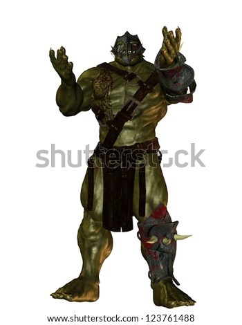 3D rendering of an orc warrior - stock photo