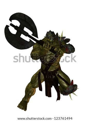 3D rendering of an Orc with Axe - stock photo