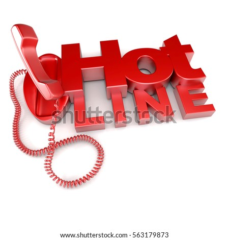 3D rendering of an unhooked red telephone with the word hotline