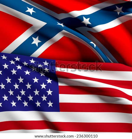 3d rendering of an united states and confederate flags - stock photo