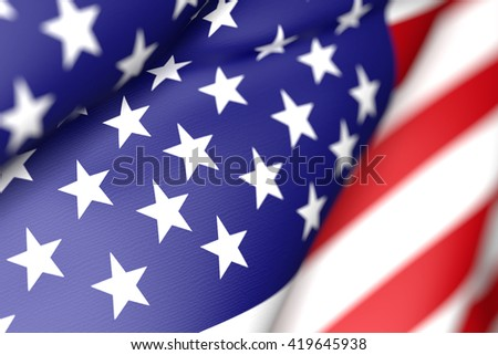 3d rendering of an United States of America flag waving - stock photo