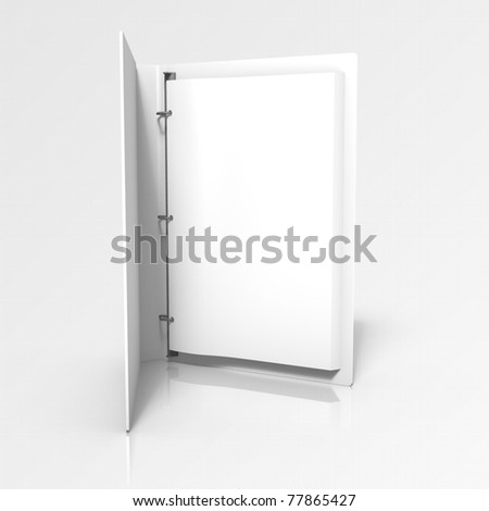 3d rendering of angle-d binder with documents on gray gradient background
